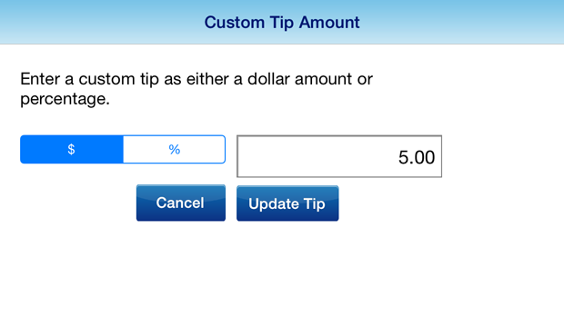 Custom Tip Amount