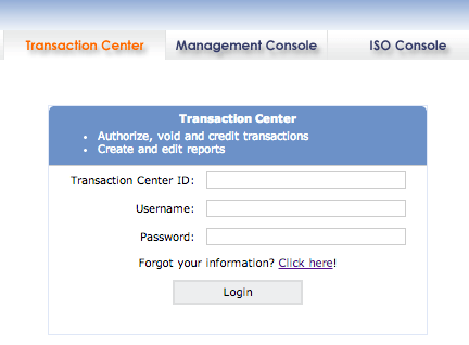 Log Into the Transaction Center