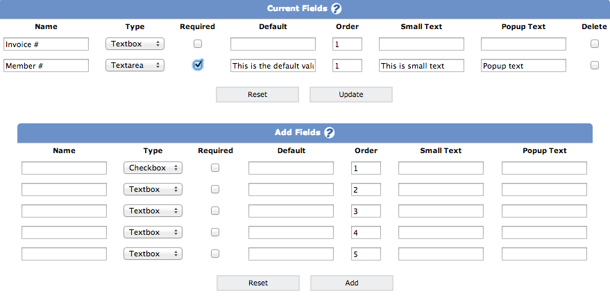Create and Edit Additional Fields