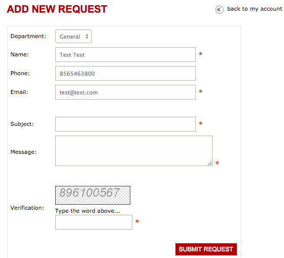 Submit New CRM Ticket