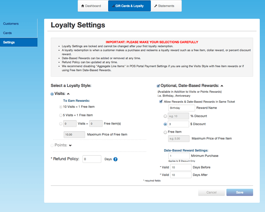 Edit Loyalty Settings
