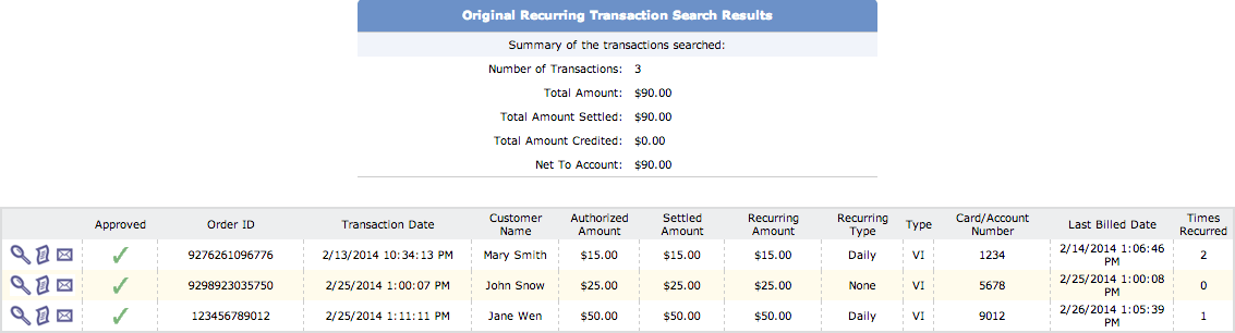 View Recurring Transactions